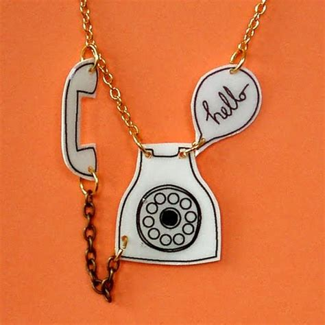 Wii Earringsphone Charm by Bling And Buy She Draws Vintage Phone Charm Necklace