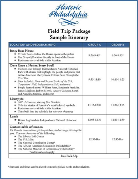 business itinerary template sle field trip travel itinerary template for students