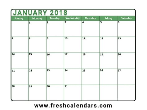 calendar 2018 template january 2018 calendar printable templates