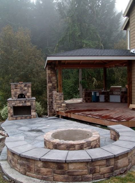 Firepit Pizzeria Outdoor Fireplace With Pizza Oven And Pit Traditional Portland By Brown Bros Masonry