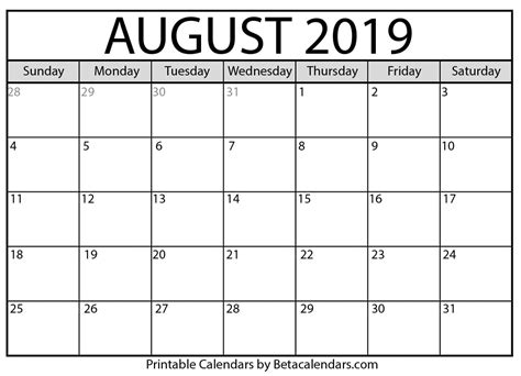 blank august calendar printable beta calendars