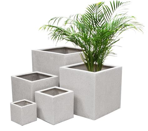 Planter Pot Sizes by White Poly Terrazzo Cube Planter 3 Sizes Indoor Outdoor