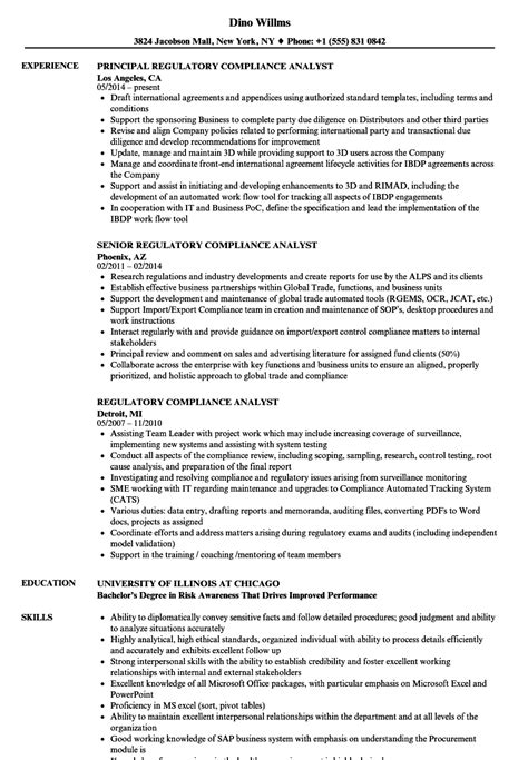 Compliance Analyst Resume by Regulatory Compliance Analyst Resume Sles Velvet