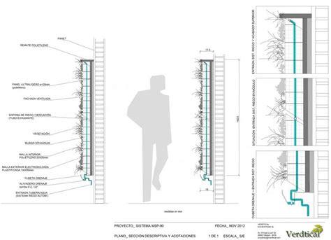 vertical garden section arquitectura construccion detalles fachadas vegetales