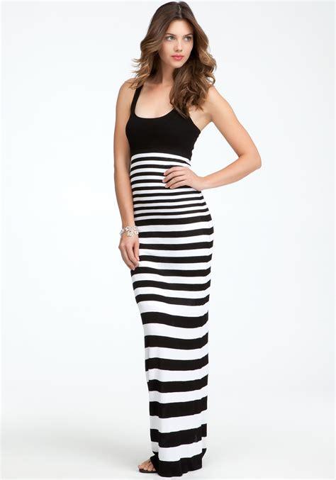Maxy Stripe bebe racer neck stripe maxi dress in black black white
