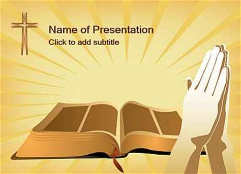 bible with christian cross ppt template bible with bible and cross template for presentations of powerpoint