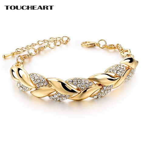TOUCHEART Braided Gold color Leaf Bracelets & Bangles With