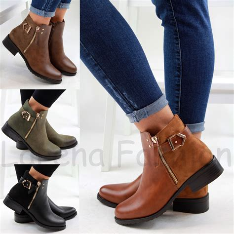 Flat Shoes Wanita Suede Lucuunikmurah new womens flat ankle boots casual buckle side zip low heel shoes sizes ebay