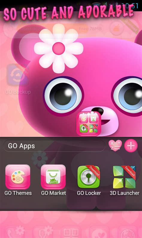 download theme cute for android free cute pink go launcher theme free android app android