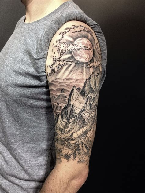 mountain tattoo sleeve all done completed drew s mountain landscape half sleeve