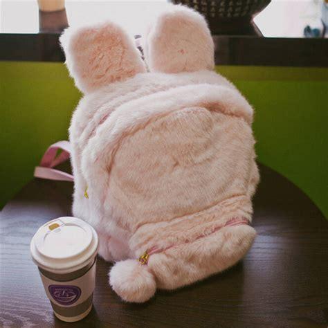 Bunny Backpacker Bag bunny ears backpack rabbit fur shoulder bag
