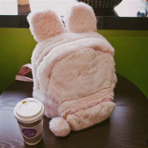 Bunny Ears Bag Rabbit bunny ears backpack rabbit fur shoulder bag mochila masculina school bags for