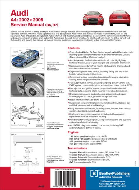 back cover audi audi repair manual a4 2002 2008 bentley publishers repair manuals and