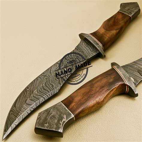 Handmade Steel - damascus bowie knife custom handmade damascus steel