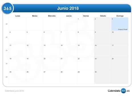 Calendario Junio 2018 Calendario Junio 2018