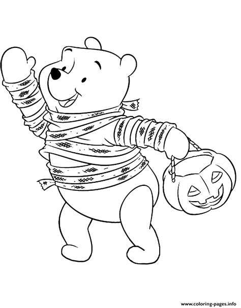 winnie the pooh halloween coloring pages printable winnie trick or treating disney halloween coloring pages