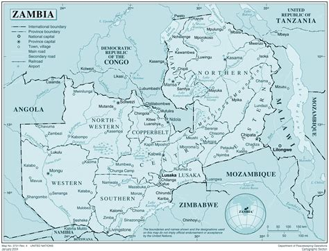 printable map of zambia large detailed political map of zambia with all cities and