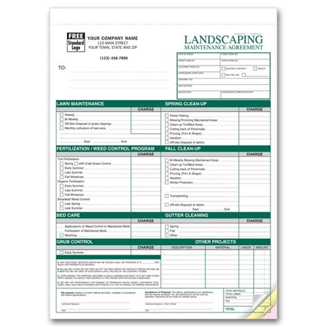 Landscaping Agreement Forms 6523 At Print Ez Landscaping Budget Template