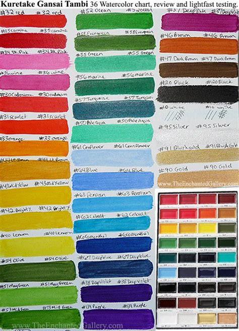 color chart kuretake gansai tambi set 36 colors watercolor