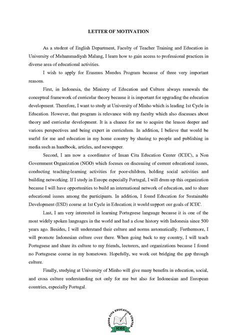 Motivation Letter Sle Erasmus Mundus Motivation Letter Addmition Eit Motivation Letter Sle And School
