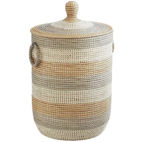 Grey And White Round Stripe Her Woven Her With Lid Woven Laundry With Lid