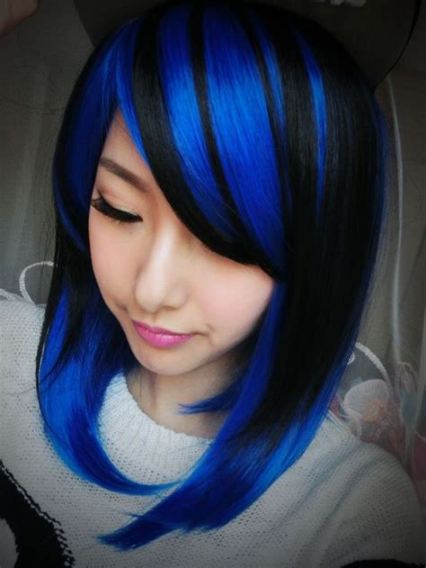 1000 ideas about blue streaks on navy hair