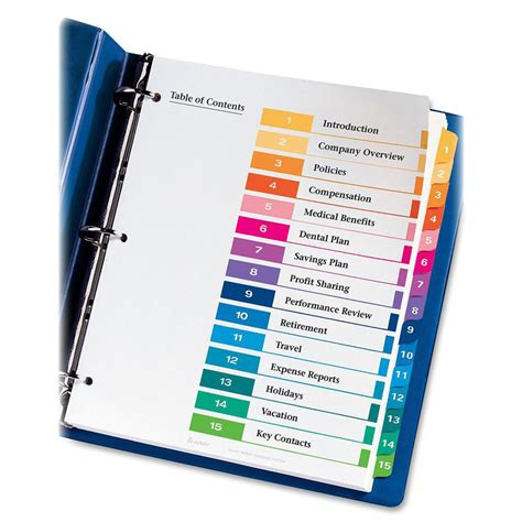 avery ready index template 12 tab avery ready index table of contents reference divider ld