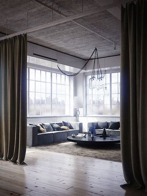 drapery loft tribeca loft love the long curtains 客室 pinterest