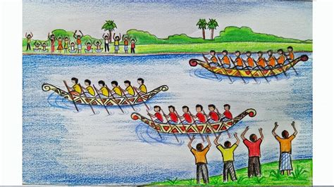 onam boat drawing how to draw a scenery of boat regatta step by step very