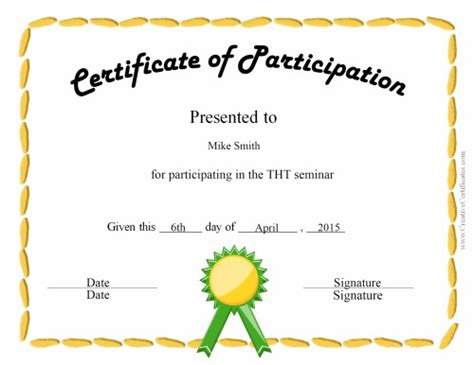 template for certificate of participation free certificate of participation templates for