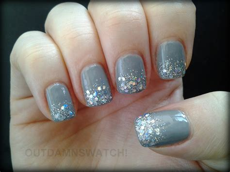 light grey nail grey glitter gradient out damn swatch