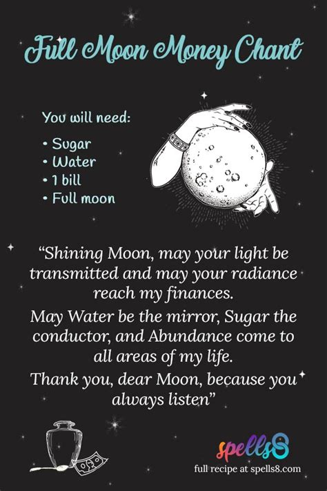 moon boon chant full moon wiccan magic  attract money