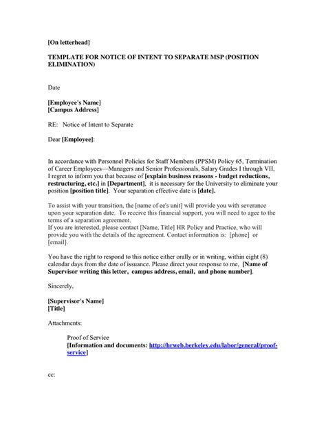 Letter Of Intent For Supervisor Position Exle Pdf sle letter of intent to dismiss in word and pdf formats