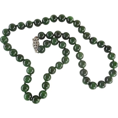 superb vintage green jadeite 8mm bead