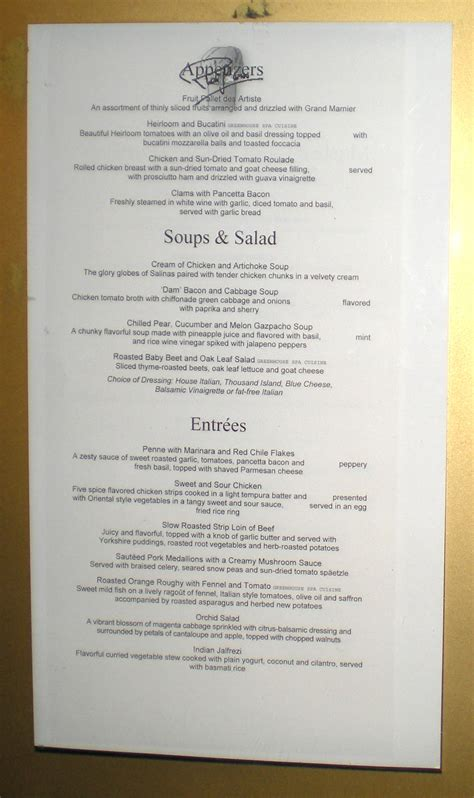 Room Menu by Mariner Embarkation Lunch Menu Hal Cruiser Information
