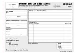 invoice book template electrician invoice books personalised duplicate pads
