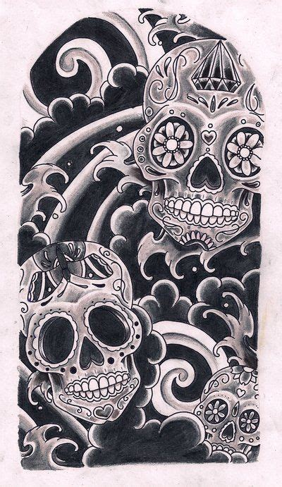 sugar skull sleeve tattoo designs sugar skull sugar skulls by kirzten on deviantart