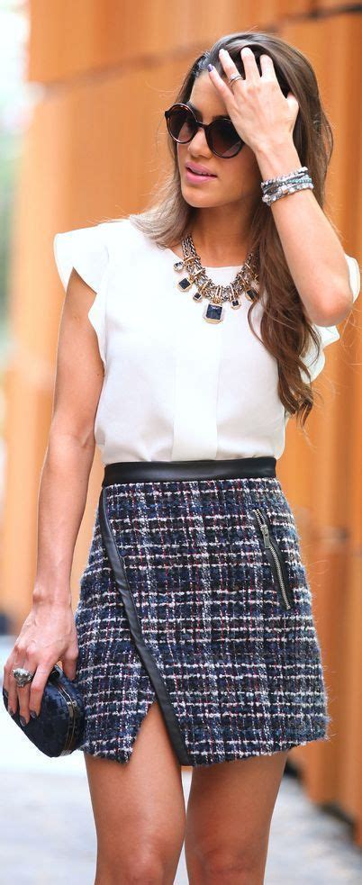 Asymmetric Flap Mini Skirt Navy tweed skirt my style tweed clothes and formal