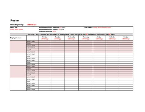 free roster templates printable best photos of work template employee weekly work