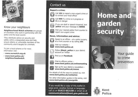 home and garden security information leaflet from kent
