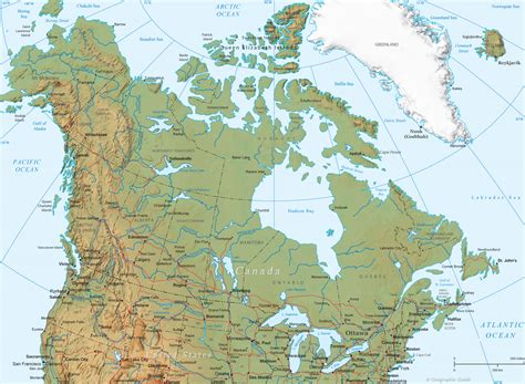 usa and canada physical features map canada physical map and flag america