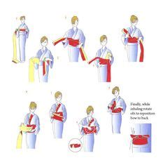 Yukata Knot Top how to tie a kimono yukata obi belt read top to bottom