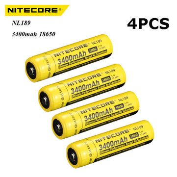 Termurah Nitecore 18650 Rechargeable Li Ion Battery 3400mah 3 7v 4pcs nitecore nl189 3400mah 18650 li ion rechargeable battery sale banggood sold out