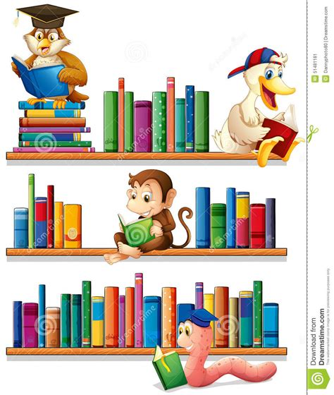Readers Shelf by Animals And Books Stock Vector Image 51481181