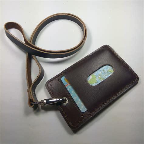gantungan id card kulit asli warna coklat id card holder