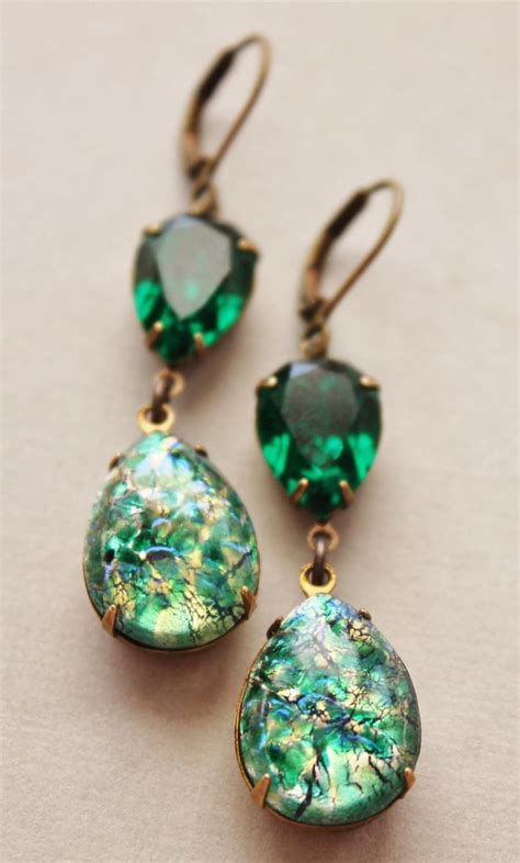 vintage emerald opal earrings emerald green opal