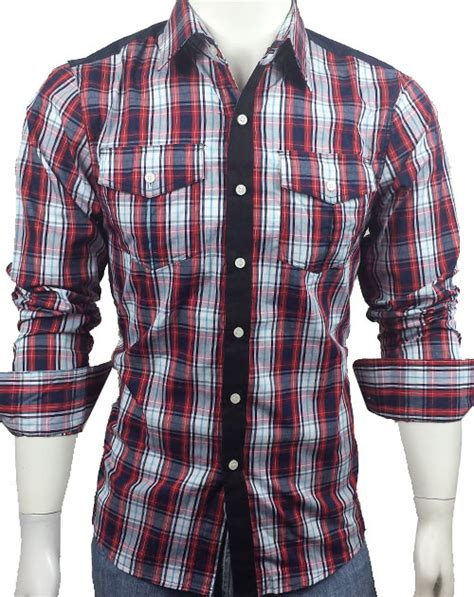 30   Men s Casual Long Sleeve Smart Shirt Red White Navy