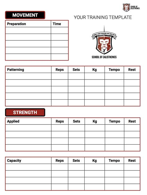 exercise session plan template how to structure a calisthenics session