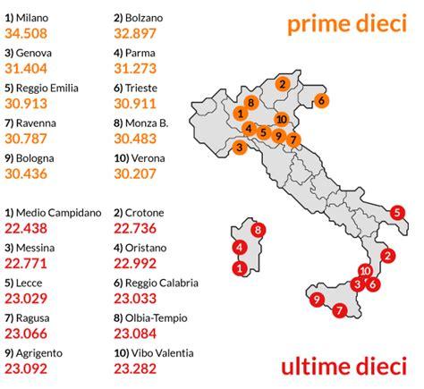 stipendio d italia stipendi la classifica delle province domina