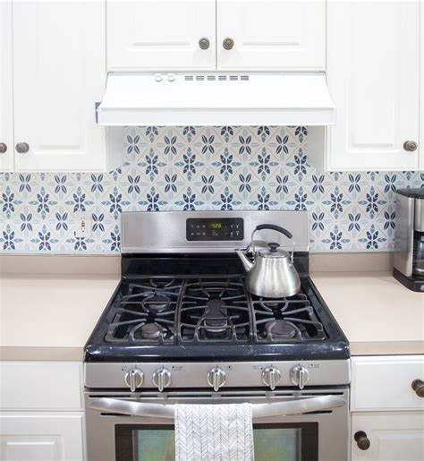 easy faux tile backsplash with eco friendly wallpaper